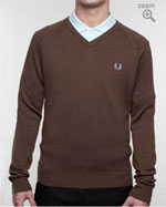 Fred Perry Brown Wool V-Neck